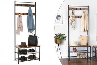 Garderobe mit Schuhregal und Sitzbank