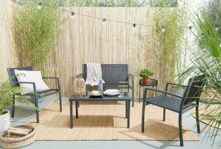 Gartenset mit doppelter Sitzbank, 2 Stühle und einem Tisch