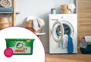 105 prań z kapsułkami Ariel 3 w 1