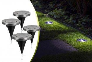Set da 4 picchetti LED da giardino a energia solare