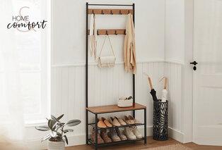 Portemanteau avec étagère à chaussures et banc