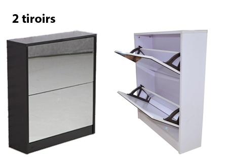meuble chaussures blanc ou noir avec miroir livraison incluse