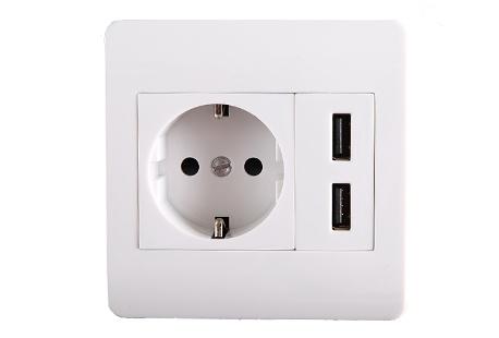 prise de courant encastrable dot e de deux ports usb outspot. Black Bedroom Furniture Sets. Home Design Ideas