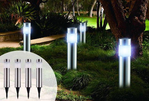 4 lampade da giardino a energia solare outspot - Lampade a energia solare da esterno ...