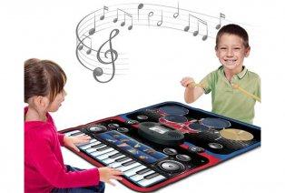 Tapis musical avec clavier de piano et batterie