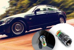 Lot de 4 bouchons de valve mesurant la pression des pneus