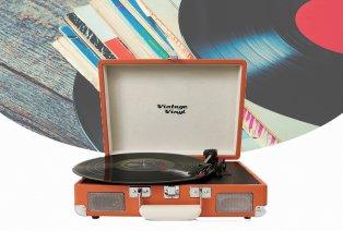 Retro-Vinyl-Plattenspieler mit integriertem Lautsprecher