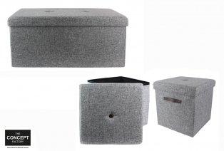 Faltbares Sitzkissen oder Bank mit Lagerraum