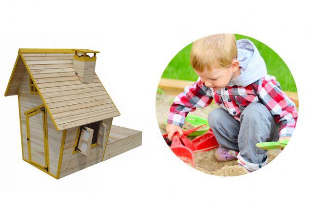 Houten speelhuisje met zandbak