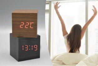 Sveglia digitale con design in legno