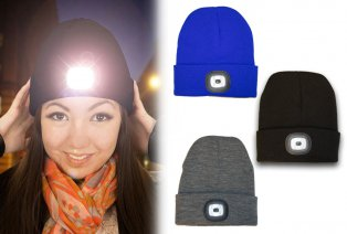 Beanie with built-in LED headlamp