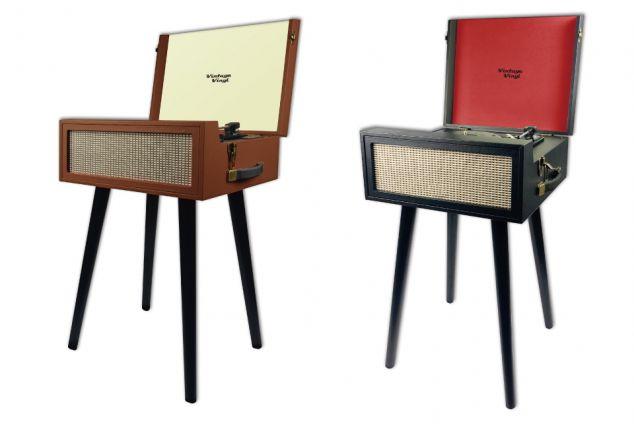 tourne disque r tro sur pied outspot. Black Bedroom Furniture Sets. Home Design Ideas