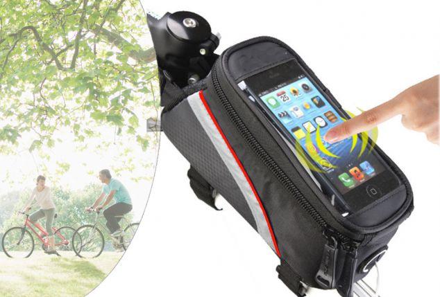 0f2845d30a6 Práctica bolsa para cuadro de bicicleta con funda para teléfono móvil