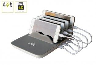 Oplaadstation met 4 USB-poorten en Qi-laden