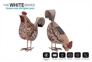 Figuras decorativas pollo, funcionan con energía solar