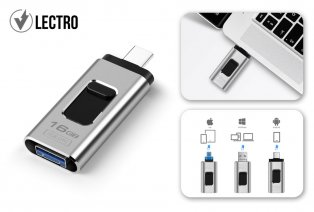 4-in-1 USB stick for smartphones, tablets and laptops