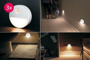 Set van 3 led-nachtlampjes