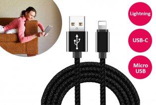 3 meter lange gevlochten USB-kabel