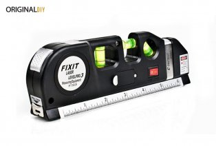 Multifunctional spirit level with laser, ruler and tapeline