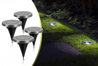 Set de 4 spots LED pour le sol fonctionnant à l'énergie solaire